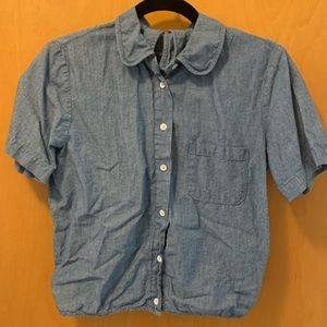 Lucky Brand denim tie back button up